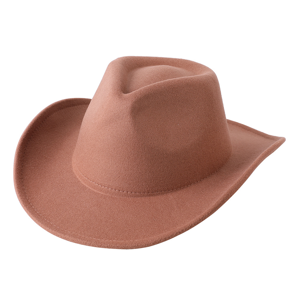 Solid Color Western Cowboy Hat Faux Woolen Cap Men Women With Big Eaves Outdoor Hiking Mountaineering Hat