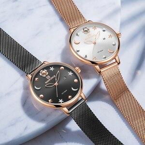 Image 4 - NAVIFORCE Uhr Frauen Mode Kleid Quarz Uhren Dame Edelstahl Wasserdichte Armbanduhr Einfache Mädchen Uhr Relogio Feminino