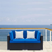 US warehouse Fully Equipped Weaving Rattan Sofa Set with 2pcs Corner Sofas Black Free Shipping(China)