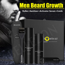 4 Pcs/set Men Beard Growth Kit Hair Growth Enhancer Thicker Oil Nourishing Leave