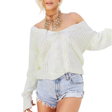 New Women\s Sexy V Neck Off Shoulder Jumper Hollow Soft Warm Autumn Winter Knitted Sweater Blouse Tops Long Sleeve Knitwear