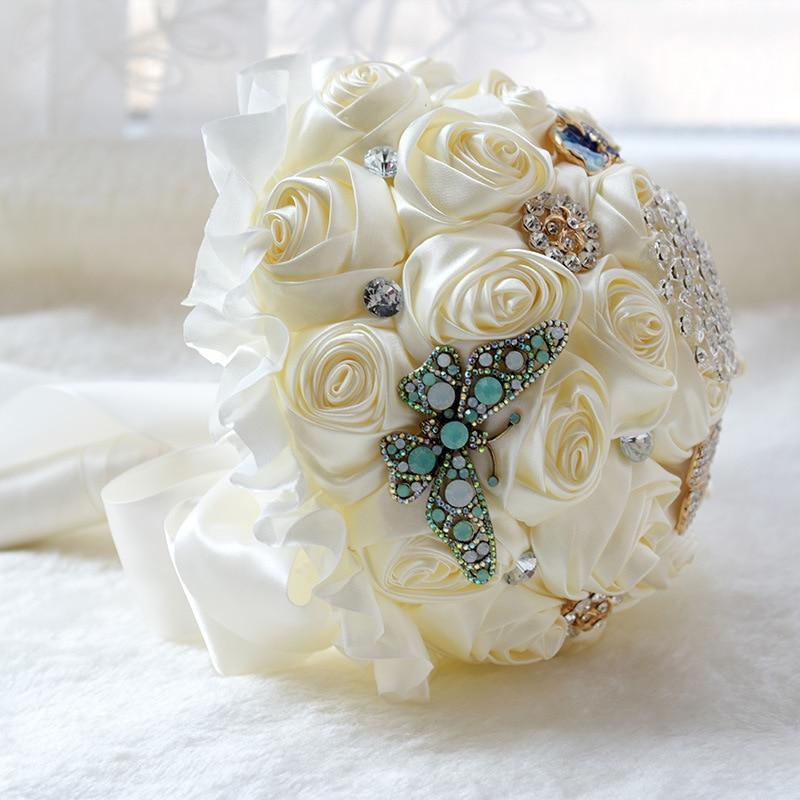 Handmade Luxury Gold Rhinestone Crystal Bridal Brooch Bouquets Wedding Bride Bridesmaid Holding Bouquet Decor Flowers Gifts