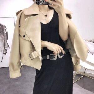 Image 1 - 革のジャケットの女性プラスサイズのシープスキンのコート 2020 atutmn冬のコートやジャケット女性カジュアル女性のオーバーコート