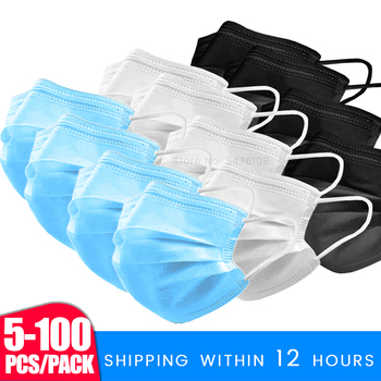 Fast Delivery Safety Face Mask 100-5Pcs Safe Masks Disposable Mouth Masks 3 Layer Elastic Earloop Protect Mask 12-24 Hours Shipp