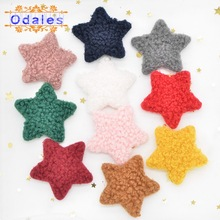40Pcs Mixed Teddy Plush Star Appliques Sewing on Baby Shoes Socks Hat Underpants Winter Clothing Decoration DIY Hair Accessories