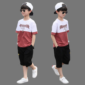 New Summer Boys Clothing Sets Children T-shirt Short Sleeve +Pants Set Two Pieces Set Kids Baby Boys Clothes 6 8 10 11 12 Years(China)