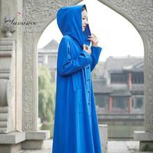 Autumn Casual 4 Solid Color Hooded Vintage Women Long Coat