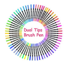 Dual Tip Brush Art Markers Pen 12/24/36/48/60/80/100 Colors Watercolor Pens For Drawing Painting Calligraphy Art Supplies