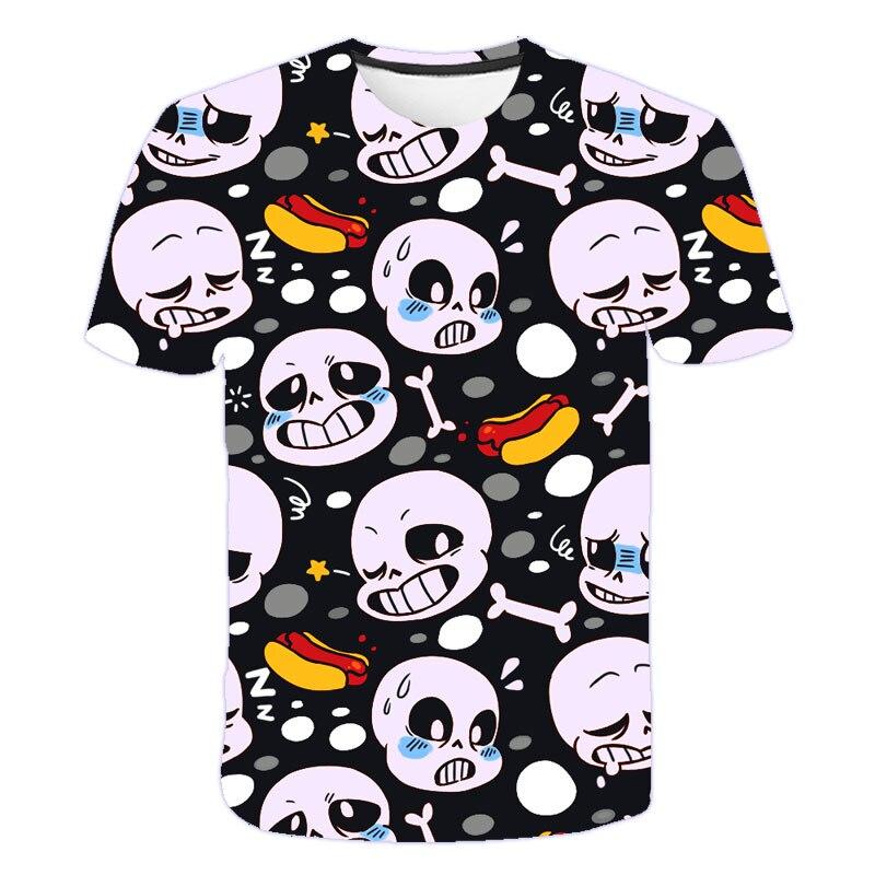 Undertale T-shirt manches courtes unisexe, humoristique, Sans impression, Punk, crâne en 3D, Hipster, Hip Hop, pour garçon et fille