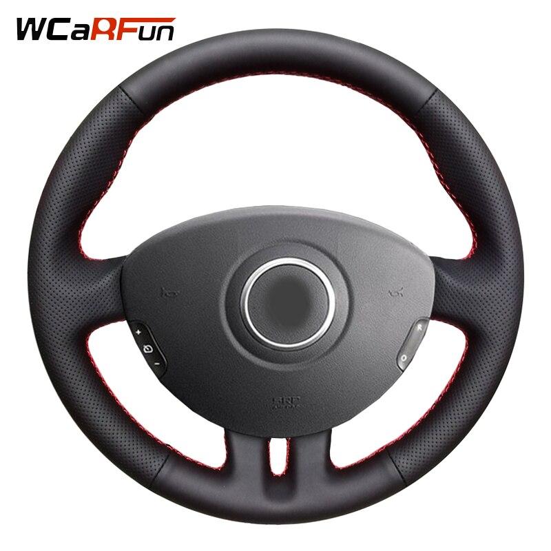 WCaRFun couvre-volant de voiture en cuir véritable cousu main pour Renault Clio 3 2008 2009 Clio dynamics 2008 clio mk 3 2010