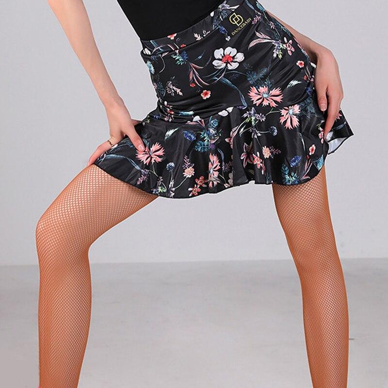 New Latin Dance Skirt Flower Print Short Skirt Dance Wear Ladies Adult Red Rumba Skirt Women Costume For Latin Dance BL2270