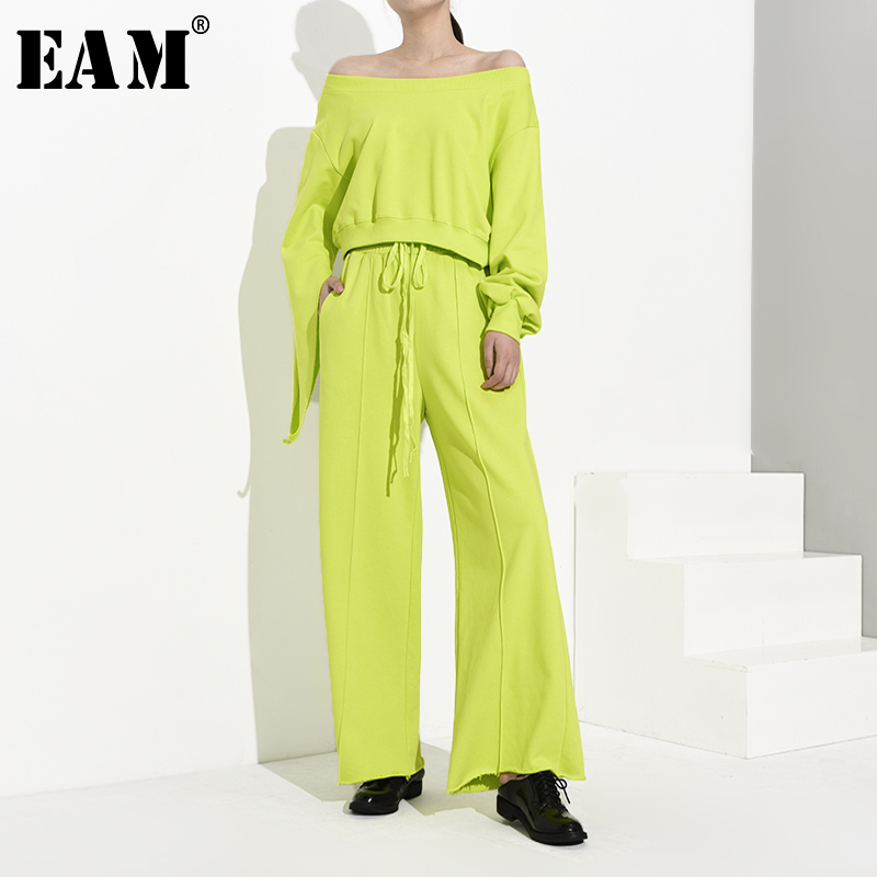 [EAM] Wide Leg Pants Hollow Out Two Piece Suit New Slash Neck Long Sleeve Loose Fit Women Fashion Tide Spring Autumn 2020 WH4030
