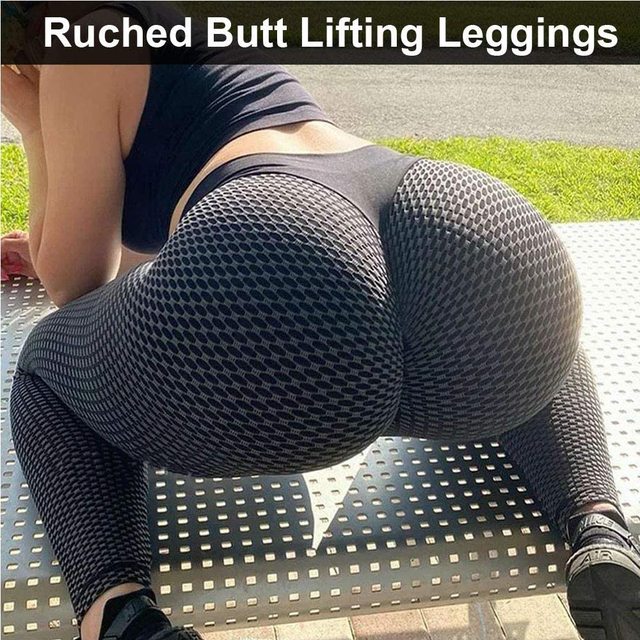 KIWI RATA Women High Waisted Ruched Butt Lifting Leggings Scrunch Textured Compression Yoga Pants Booty Workout Tights 4