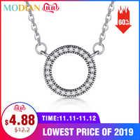 Modian 925 Sterling Cuori d'argento di Modo del pendente di Marca Classic Sereno Cubic Zirconia Collana del Cerchio Per Monili Delle Donne Di Lusso
