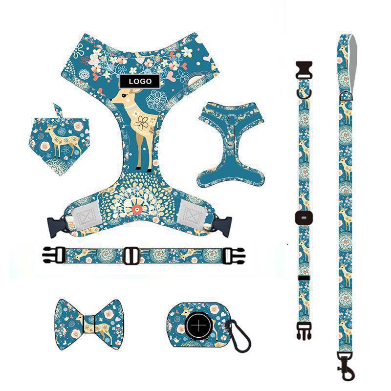 Traction Rope Set Dog Chest Strap Vest Breathable Harness Pet Supplies Blue Print Adjustable Pet For Vest Leash For A Dog