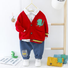 Baby Boy Clothes Set Kid Cardigan Coat+T-shirt+Jeans 3Pcs Outfit For Baby Girl Clothes Suit Baby Clothing Newborn Infant Clothes(China)