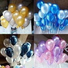 30 pçs/lote azul rosa branco Pérola Balão De Látex da Festa de Aniversário infantil decoração de casamento balão de Ar Float Bolas Do Chuveiro de Bebê