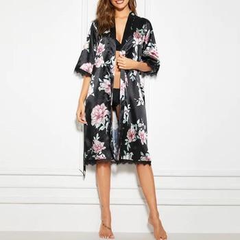 Women Silk Satin Sleepwear Bathrobe Print Lace Pajamas Lingerie With Belt Sexy NightGown Lady Erotic Underwear Robe D35