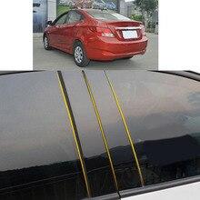 Автомобильная накладка на столб из поликарбоната, отделка двери, окна, пианино, черная молдинговая наклейка, пластина 8 шт. для Hyundai Verna Sedan ...