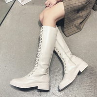 Black Red White Boots Women Sexy Knee High Boots Women Fashion Lace Up Leather Boots Combat Boots Women Shoes Long Boots Winter