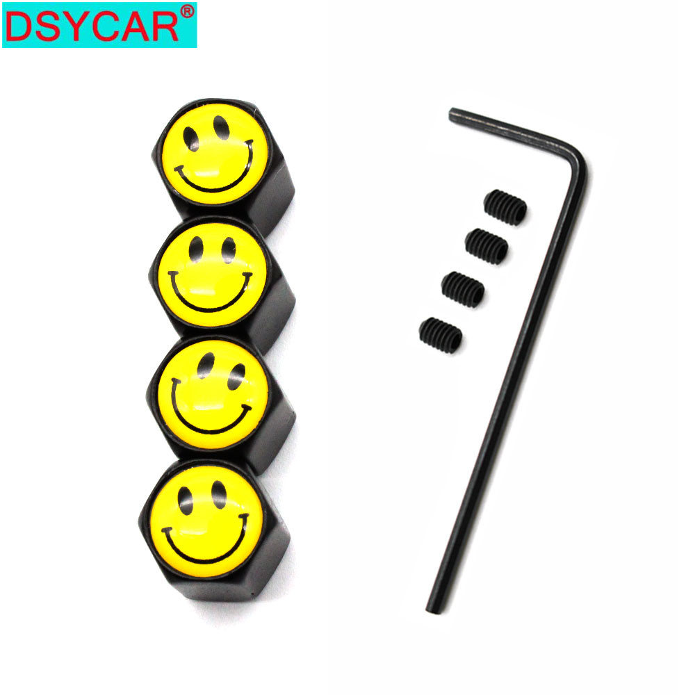 DSYCAR 5 Pcs/Set Car Styling Zinc Alloy Anti-theft Smiling Face Logo Car Tire Valve Caps Wheel Tires Tire Stem Air Cap Airtight