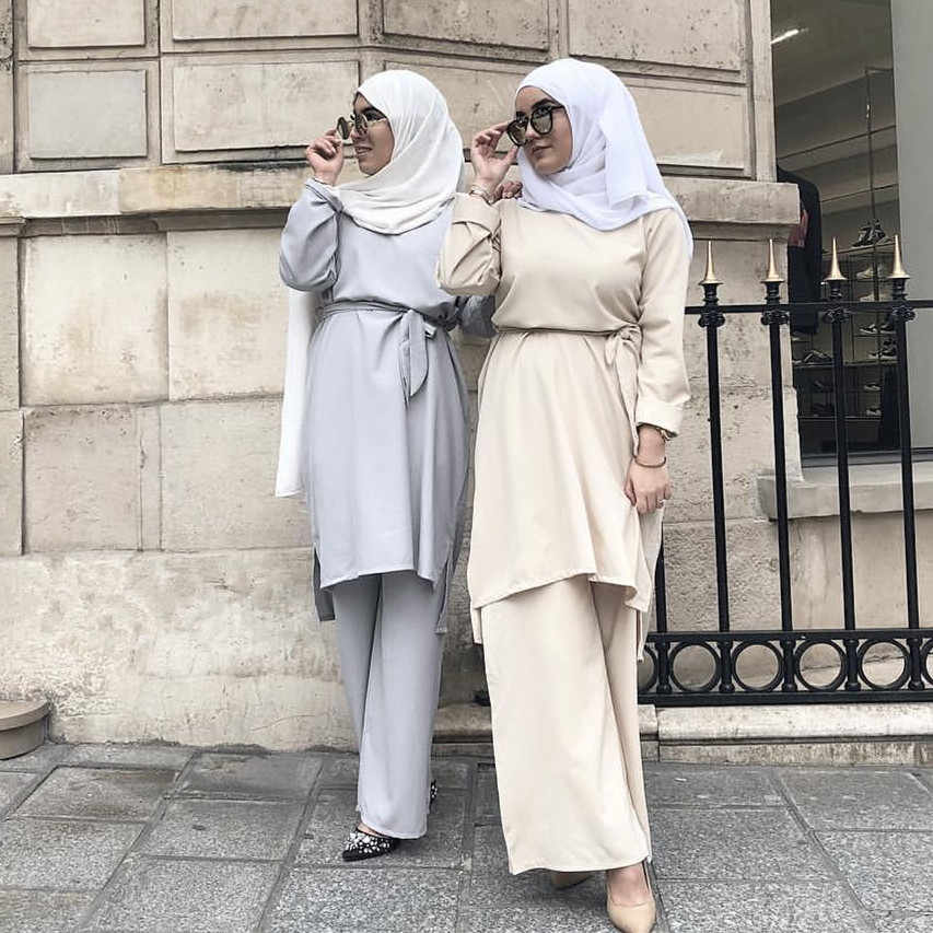 Dubai Arab 2 Piece Set Women's Sets Blouse with Pants Lace-up Abaya Muslim Women Wide Leg Pans Ramadan Islamic Prayer Clothing