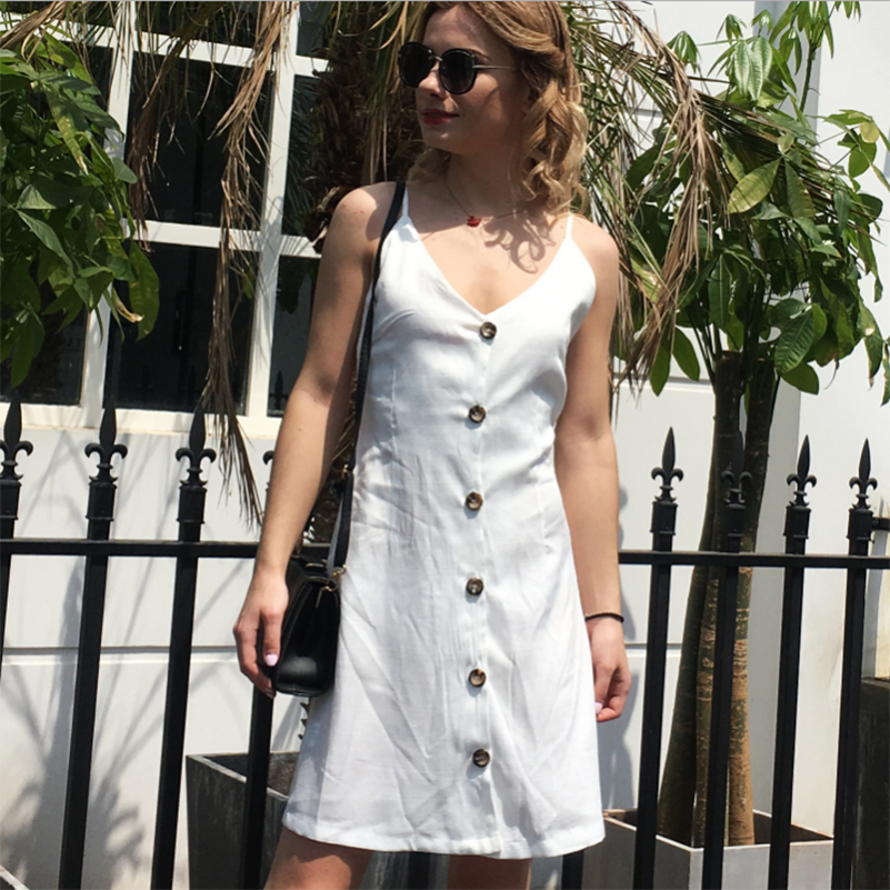 Solid Strap Summer Sexy Lady Sundress Mini Sleeveless 2019 V Neck Dress Fashion Waist Casual Backless Dresses Spaghetti Bow High