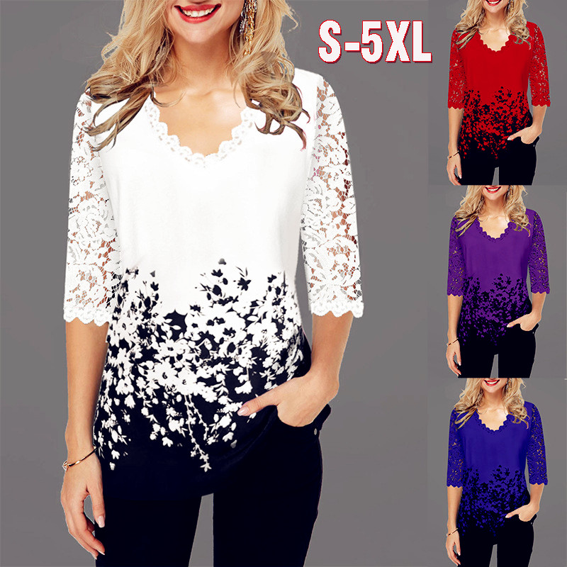 Summer 2020 Sexy Fashion Women Lace Spring Ruffles Crochet Tops Tees Plus Vintage Sizes Femme Shirts Blouse Befree Boho Casual