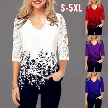 Summer 2020 Sexy Fashion Women Lace Spring Ruffles Crochet Tops Tees Plus Vintage Sizes Femme