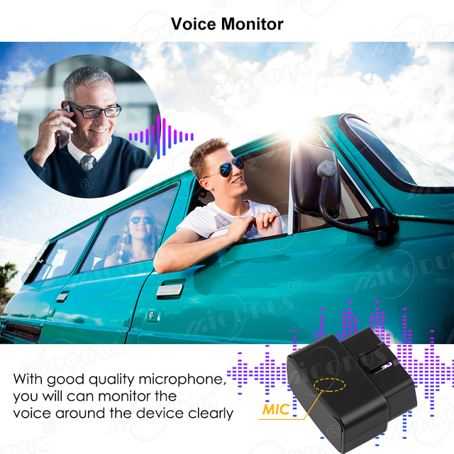 OBD GPS Tracker Car Tracker Micodus MV33 Realtime Tracking Voice Monitor Mini GPS Locator Shock&Plug-out Alarm Geofence Free APP 4