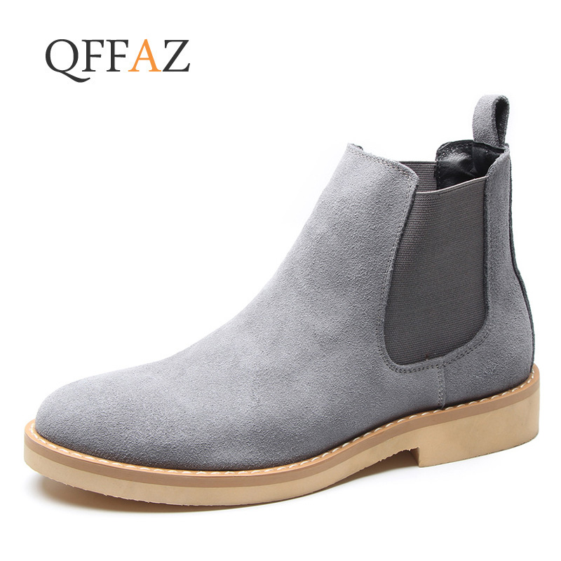 QFFAZ <font><b>Men</b></font> Chelsea Boots Ankle Cow Suede Genuine Leather <font><b>shoes</b></font> <font><b>Men</b></font> Boots Autumn <font><b>Winter</b></font> Booots image