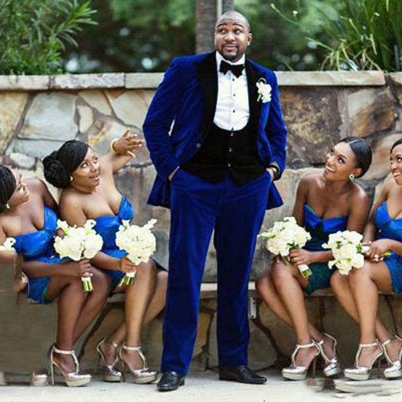 Handsome One Button Groomsmen Peak Lapel Groom Tuxedos Men Suits Wedding/Prom Best Man Blazer ( Jacket+Pants+Tie+Vest)