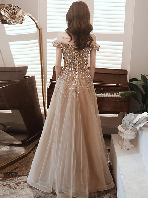 Sexy Spaghetti Straps Sparkle Prom Dresses Long 2020 V-neck A-line Floor-length Sequined Women Formal Gowns For Evening Party 4