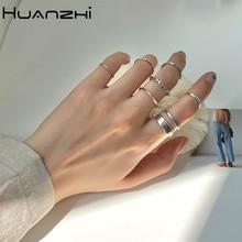 Huanzhi 2020 novo punk 7 pçs/set minimalista suave banhado a ouro geométrico metal anéis de corrente para festa feminino jóias