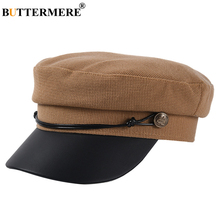 BUTTERMERE Women Newsboy Cap British Vintage Baker Boy Hat Cotton Leather Patchwork Female Male Autumn Winter 2019 New Army
