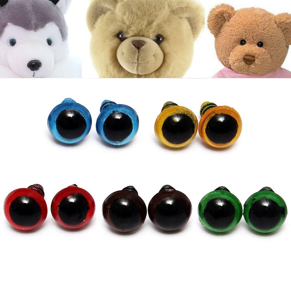Wholesale 100 Pcs/50 Pairs 5 Colors-Mix 8mm Plastic Safety Eyes Box For Teddy Bear Stuffed Toy Snap Animal Puppet Doll Craft DIY