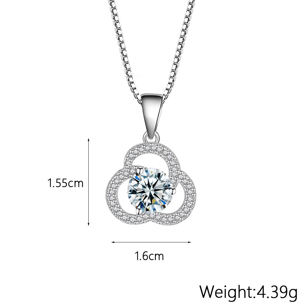 Three Rings Connected Pendant Clover Zircon Necklace Valentine's Day Gift for Woman Chain Necklace CLOVER JEWELLERY