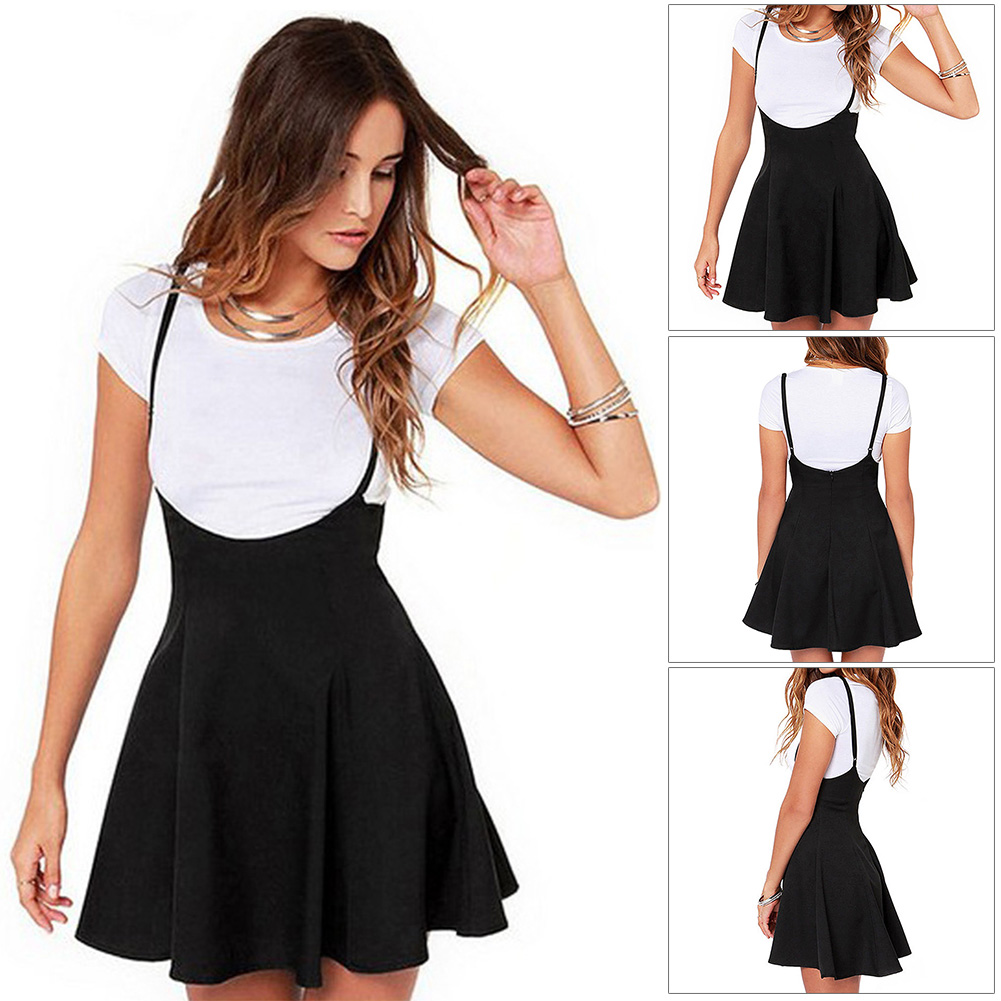 Zipper Casual Suspender High Waist Soft Solid Summer Fashion Adjustable Strap Backless Women Skirt Strappy Pleated Mini Skater