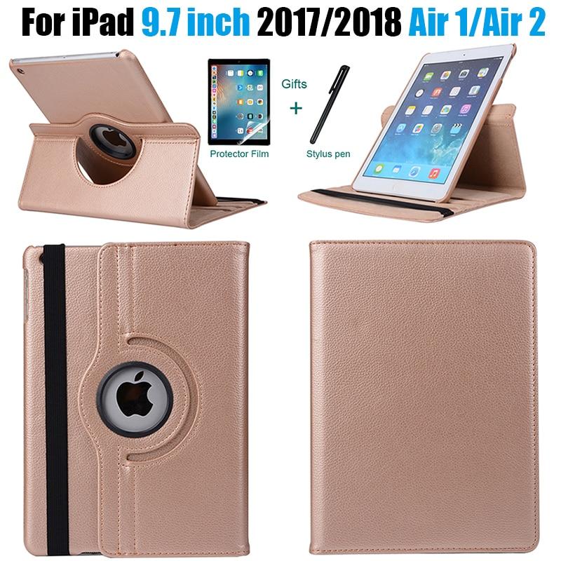 360 graus de rotação couro inteligente capa para apple ipad ar 2 1 5 6 novo ipad 9.7 2017 2018 a1822 a1823 a1893 coque funda