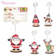 PATIMATE Christmas Wooden Pendants Santa Claus Elk Hanging Tree Decorations Xmas Navidad Gift Happy New Year 2020