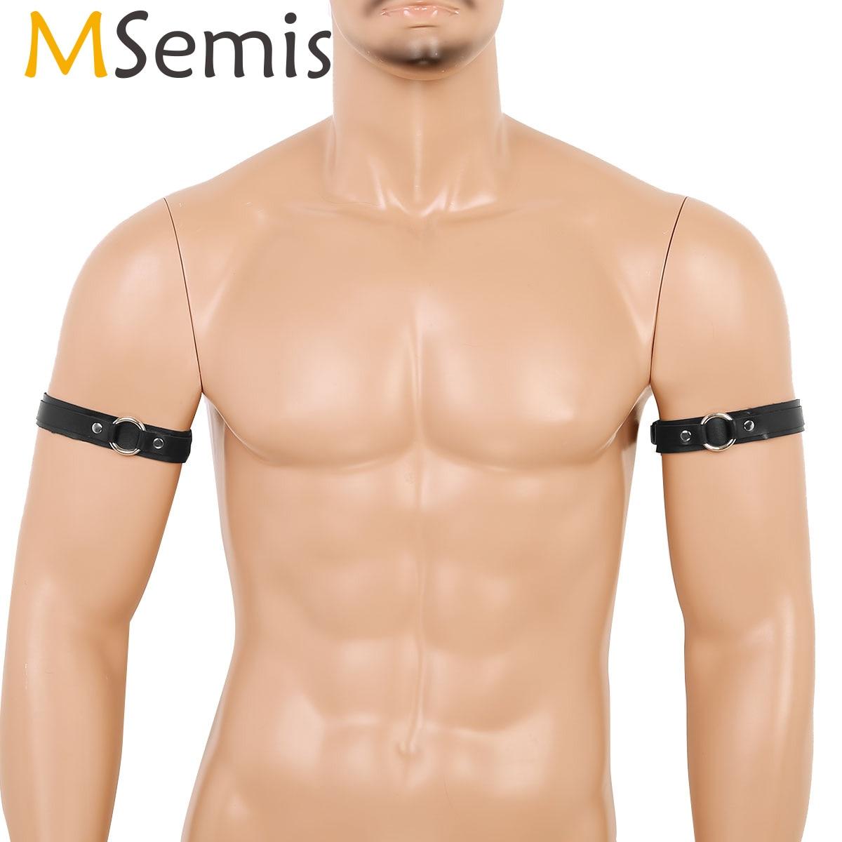 MSemis Arm Warmers Armbands Men Black PU Leather Vintage Punk Goth Armbands Adjustable Buckle Straps Clubwear Costume Accessory