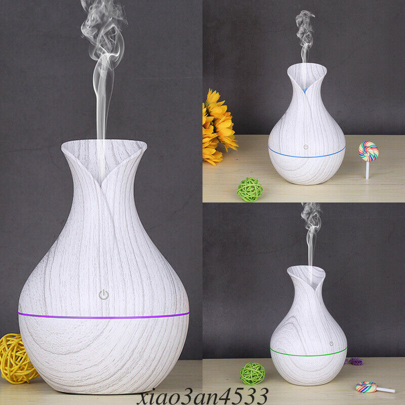 UK 130ml Mini LED Ultrasonic Air Humidifier Diffuser Essential Oil Mist Aroma 3[White Wooden Grain]
