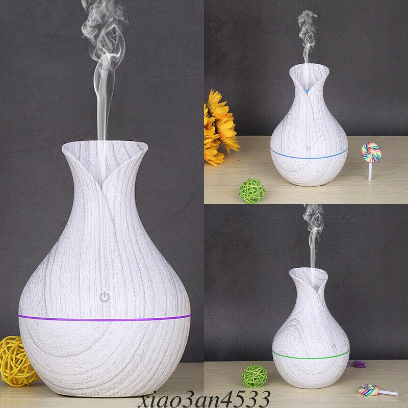 UK 130ml Mini LED Ultrasonic Air Humidifier Diffuser Essential Oil Mist Aroma 3[White Wooden Grain]
