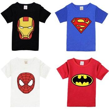 Kids T-shirt For Boys Cartoon T-shirt Children Summer Clothing Ironman Superhero Spiderman Batman Summer Tees