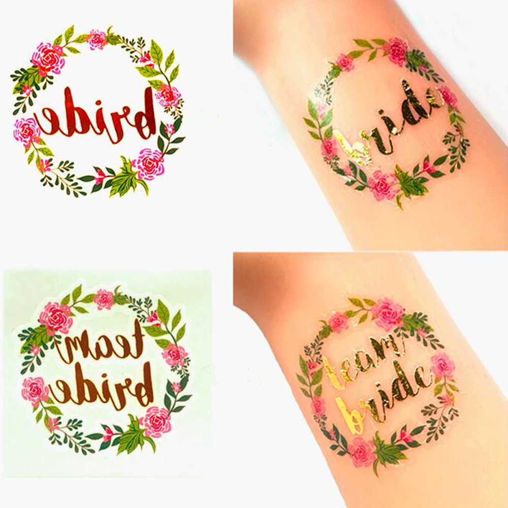 5pcs/set Wedding Decor Bridal Shower Bachelorette Party Tattoo Stickers Bride To Be Accessories Hen Night Wedding Supplies Decor