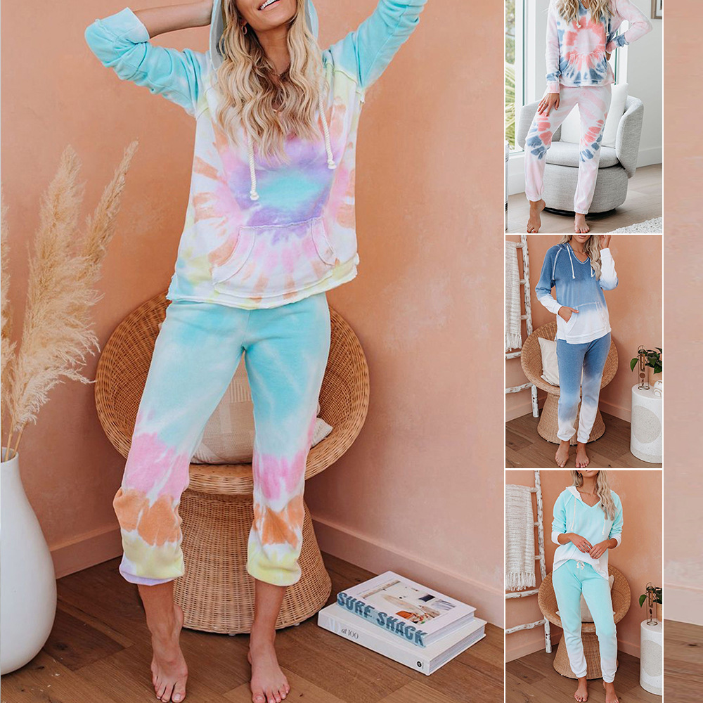 2020 Europe And The United States New Ladies Clothing Piece Autumn And Winter Amazon Beautiful Tie-Dye Long Pajamas 45065