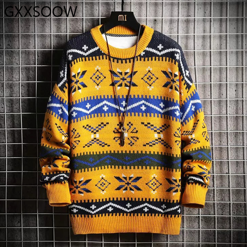 2019 Winter Christmas Sweater European Style Print Knittwear Sweater Men Women Knitted Pullovers Chirstmas Men Sweather MG376