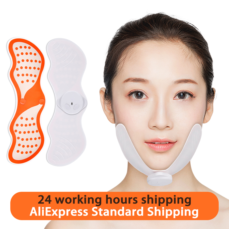 EMS Face Lifting Massager Face Slimming Muscle Stimulator Facial Massager Reduce Double Chin Skin Lift Tools With Gel Pads
