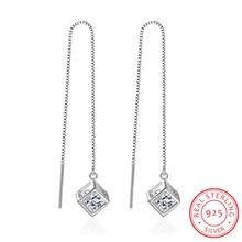 Настоящее 925 пробы Серебряные длинные кисточки кристаллы квадратный кубик циркония Висячие серьги для женщин Girs Стерлинговое Серебро-ювелирные изделия