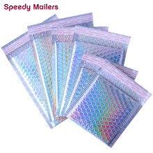 Enveloppe à bulles en aluminium métallique, 10 pièces, trousse de maquillage, cadeau, emballage, rembourré, Laser, argent